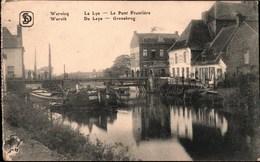 ! Alte Ansichtskarte Wervik, Wervicq, De Leye, La Lys,ship, Binnenschiff, Belgien, Grenze Grens, Le Pont Frontiere, Brug - Zoll
