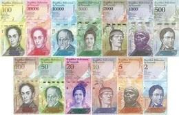 Venezuela Set Full 13 Banknotes 2 To 100000 Bolivares UNC - Venezuela
