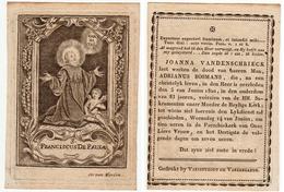 Kopergravure. Doodsprentje Adrianus BOSMANS 1737-1820 H. Franciscus De Paula. Cornelis VAN MERLEN - Godsdienst & Esoterisme