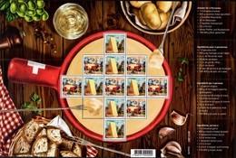 SWITZERLAND, 2018, MNH, TRADITIONAL FOOD, CHEESE, FONDUE, GARLIC, BREAD, MOUNTAINS, SHEETLET - Food