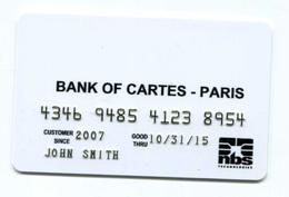 """Spécimen Prototype Essai De Carte De Crédit """"NBS Technologies - Bank Of Cartes - Paris"""" Carte Bancaire - Bank Card - Cartes De Crédit (expiration Min. 10 Ans)"""
