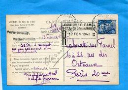 Chemins De Fer De L'est--carte Postale -chateau Regnault-cad 1948 Paris Reuilly Pour Laboratoires - Railway Post