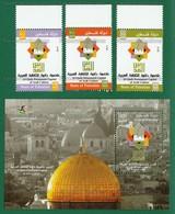 PALESTINE 2015 - AL QUDS PERMANENT CAPITAL Of ARAB CULTURE M/S + 3v Full Set MNH ** - ISLAM, Islamic Architecture .. - Palestine