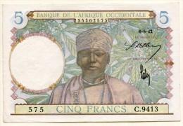 5 Francs Afrique Occidentale Française 6 Mai 1942 - Bankbiljetten