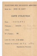 MINE DE SANCY - ELECTION DES DELEGUES MINEURS -CARTE D'ELECTEUR N°118 - Cartes