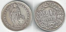 Schweiz  2 Fr. Münze           1943 - Switzerland
