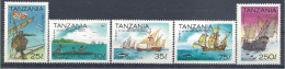 1993 TANZANIE 1175-79** Colomb, Bateaux, Cétacés, Série Courte,  Incomplète - Tanzanie (1964-...)