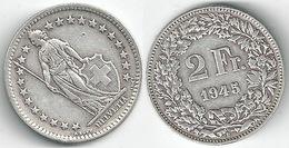 Schweiz  2 Fr. Münze           1945 - Switzerland