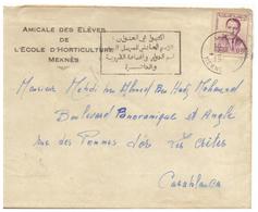 Lettre Maroc 1963. Timbre. Cachet De Meknes. Jolie Flamme En Arabe. - Morocco (1956-...)