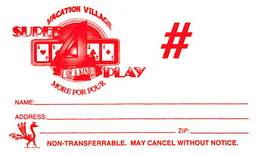 Vacation Village Las Vegas Blank Paper Super 4 Play Card - Casino Cards