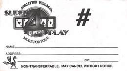 Vacation Village Las Vegas Very Rare B&W Paper Super 4 Play Card - Casino Cards