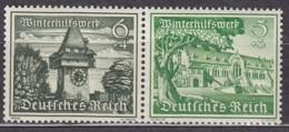 DR W 136, Postfrisch **,  WHW: Bauwerke, 1939 - Se-Tenant