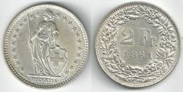 Schweiz  2 Fr. Münze           1961 - Switzerland