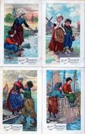 CACAO BENSDORP AMSTERDAM HOLLANDE (lot De 4 Cartes, Enfants, Bateaux, Pêche) - Advertising