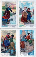 CACAO BENSDORP AMSTERDAM HOLLANDE (lot De 4 Cartes, Enfants, Bateaux, Pêche) - Pubblicitari
