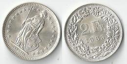 Schweiz  2 Fr. Münze           1963 - Switzerland