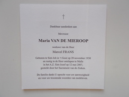 Bidprentje: Maria VAN DE MIEROOP Wwe Marcel FRANS, St.Job In 't Goor 28/11/1930 - Malle 12/5/2007 - Obituary Notices