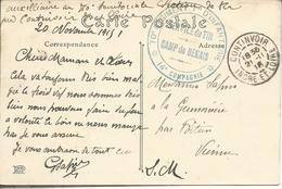 """37 Continvoir FM""""70°régiment D'infanterie*14°Cie*/service Du Tir-camp De Benais"""" - Poststempel (Briefe)"""