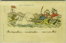 HUMOUR . CARTE POSTALE ARTISTIQUES PAR JULIO - UNE PROMENADE - GRAND'MAMAN VA-T-EN GUERRE 1900s (BG1362) - Humor