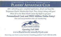 Black Hawk Casino Black Hawk CO - Paper Players Advantage Club Card - Casino Cards