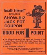 Fremont Casino - Las Vegas NV - Paper Show-Biz Jack Pot Coupon - Advertising
