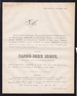 GESVES SPASE François-Joseph DEROPPE 80 Ans 1872 Familles PAQUET LEGROS MARTIN - Obituary Notices