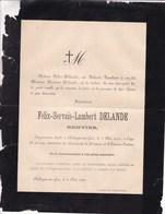 HOLLOGNE-sur-GEER Félix-Servais DELANDE, Rentier 63 Ans 1890 Famille TOMBEUR Faire-part Mortuaire - Obituary Notices
