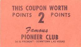 Pioneer Club - Las Vegas, NV - Paper 2 Point Coupon - Casino Cards