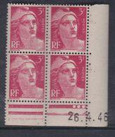 France N° 716 XX Marianne De Gandon  3 F. Rose En Bloc De 4 Coin Daté Du  26 . 4 . 46 , 3 Points Blancs Sans Ch., TB - Coins Datés