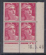 France N° 716 XX Marianne De Gandon  3 F. Rose En Bloc De 4 Coin Daté Du  16 . 5 . 46 , 3 Points Blancs Sans Ch., TB - Coins Datés