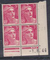 France N° 716 XX Marianne De Gandon  3 F. Rose En Bloc De 4 Coin Daté Du  1 . 8 . 46 , 3 Points Blancs Sans Ch., TB - Coins Datés
