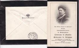 Louise Comtesse De Flandre Princesse De Belgique 1845-1912 Mère Albert Ier DP Souvenir Mortuaire Enveloppe Palais Royal - Obituary Notices