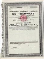Th 1TRAMWAYS : Cie Générale Française - Certificat1951  (N=25) - Actions & Titres