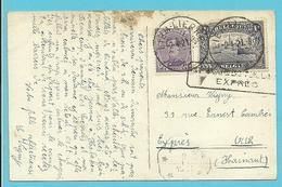139+145 Op Kaart Per EXPRES Met Stempel LIER / LIERRE A - 1915-1920 Albert I