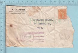 Canada - #234 Sur Commercial Envelope, A. Kouri Sherbrooke, Post Mark Registered - 1911-1935 Reign Of George V