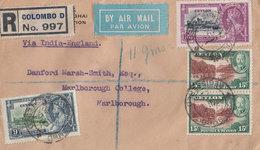 Colombo India Cover 1936 Registered Antique Ephemera - India