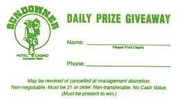 Sundowner Casino Reno, NV - Paper Daily Prize Giveaway Card - Advertising
