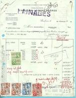 """Facture Met Fiscale Zegels Met Firmaperforatie (perfin) """" E.V. """" Van Etabl. VANDRESPECK Te Bruxelles - 1934-51"""