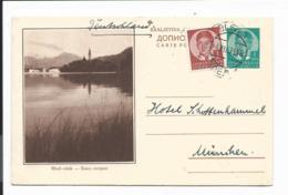 Jugoslawien P 83 D  -  1 Din. Peter BiPo BLod Otok M. 1 Din ZF 1938 V. Bled N. München Bedarfsverwendet - Entiers Postaux