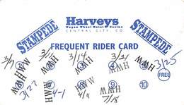 Harvey's Casino - Central City, CO - Paper Frequent Rider Card - Casino Cards