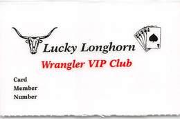 Lucky Longhorn Casino - Vinton, LA - Laminated Paper Wrangler VIP Club Card - Casino Cards