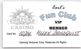 Club Fortune Casino - Henderson NV - Paper Carl's Fun Club VIP Member Card - Casino Cards