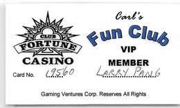 Club Fortune Casino - Henderson NV - Laminated Paper Carl's Fun Club VIP Member Card - Casino Cards
