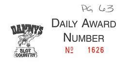 Danny's Country Store In Las Vegas, NV - Paper Daily Award Number Card - Casino Cards