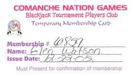 Comanche Nation Games Paper Blackjack Tournament Players Club Card - Casino Cards