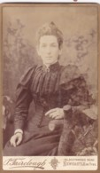 ANTIQUE CDV PHOTO - SEATED LADY . FANCY BLOUSE. NEWCASTLE ON TYNE STUDIO - Photographs