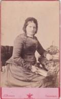 ANTIQUE CDV PHOTO -SEATED LADY WEARING HAT. HOLDING BOOK. CAMBORNE  STUDIO. - Photographs