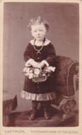 ANTIQUE CDV PHOTO -SMALL GIRL ON CHAIR WITH FLOWER BASKET.  A @ G TAYLOR STUDIO. - Photographs