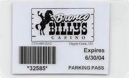 Bronco Billy's Casino Cripple Creek, CO - Laminated Paper Parking Pass From 2004 - Casino Cards