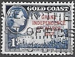 1958 Queen Elizabeth, Independence Overprint, 2p, Used - Ghana (1957-...)
